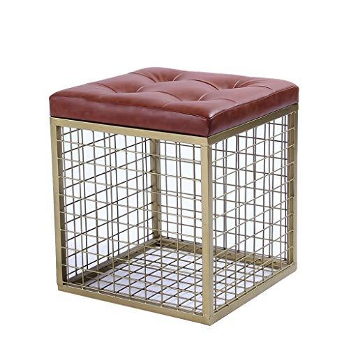 JYFK-Fußhocker Aufbewahrung Ottoman Cube Retro Hocker Eisenrahmen Aufbewahrung Truhe Fußstütze Hocker Sofa Hocker Mehrzweck Orange Gepolsterte Sitzmöbel für Schlafzimmer und Wohnzimmer