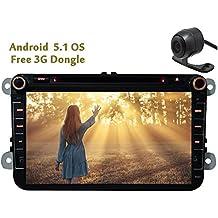 Eincar 8 pulgadas Android 5.1 Unidad de cabeza de la piruleta Doble Din radio de coche para EOS Passat Jetta Golf Polo con est¨¦reo de cuatro n¨²cleos a 1,6 GHz de navegaci¨®n GPS de la ayuda 1080P Bluetooth Multimedia System 3G WIFI CAM-EN OBD2 (Opcional)