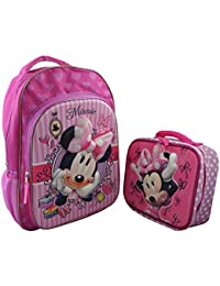 "Disney Minnie Mouse Girl's3D Pop Out Large 15.5"" Backpack With 3D Pop Out Lunchbox"