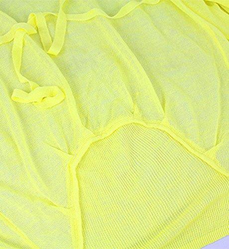 Dooxi Donna Autunno Colori Solidi Cardigan Manica Lunga Aria Condizionata Lungo Maglieria Giacca Giallo