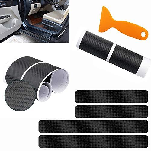 4 Stück Anti-Kratz-Auto-Tür-Aufkleber, Universal 3D Karbonfaser, Türschwellenschutz, Scheuerplattenschutz, Stoßfänger
