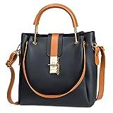 MINICE Damen Einkaufstasche Handtasche Leder Fashion Design Tasche Schultertasche PU Umhängetasche, Handtaschen New Design Metallriegel Schließen. (Schwarz)