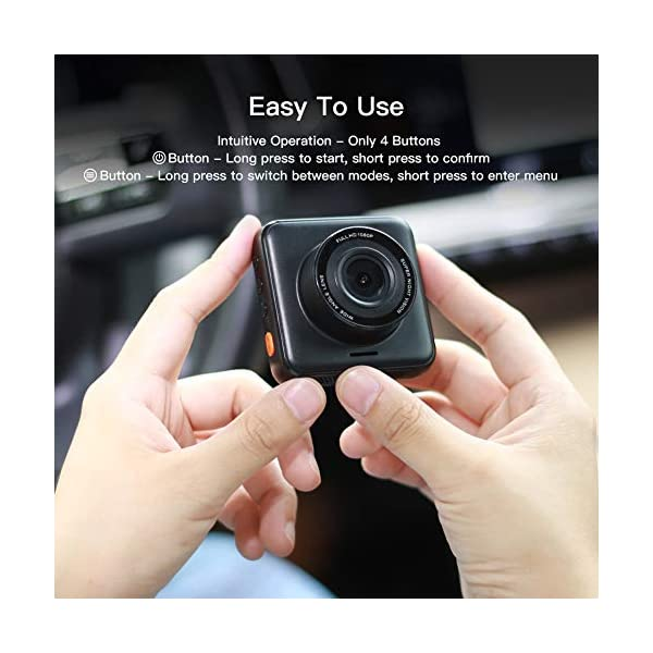 APEMAN Dual Lens Dash Cam for Cars Front and Rear with Night Vision and SD Card Included, 1080P FHD Mini Car Camera, 170°Wide Angle Driving Recorder with G-Sensor, Parking Monitor, Loop Recording, WDR 7