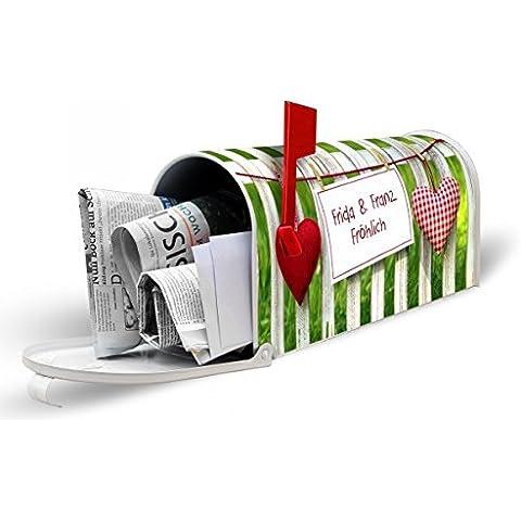 banjado–Individual gestaltete blanca US Mailbox 17cm x 22cm x 51cm Con Diseño Jardín Valla