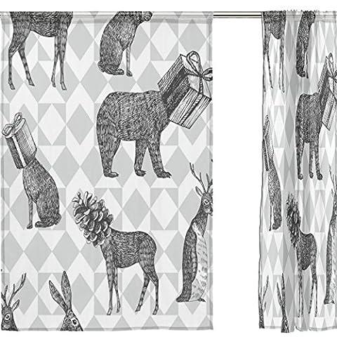 jstel Joyeux Noël Lot de 2voile rideau fenêtre, Vintage Elk cerf, en tulle Transparent Rideau Drapé Lit 139,7x 198,1cm deux panneaux de, Polyester, bleu, 55x78x2(in)