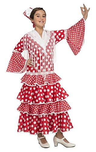 My Other Me - Disfraz de flamenca Sevilla para niña, 5-6 años, color rojo (Viving Costumes 203844)