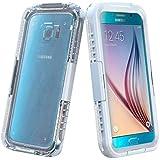 Semoss Transparent Etanche Coque Impermeable Etui TPU Housse pour Samsung Galaxy S6 Edge G925 Waterproof Water Resistant Anti Choc Protecteur d'ecran Coque Bumper Hardcase Cover - Blanc