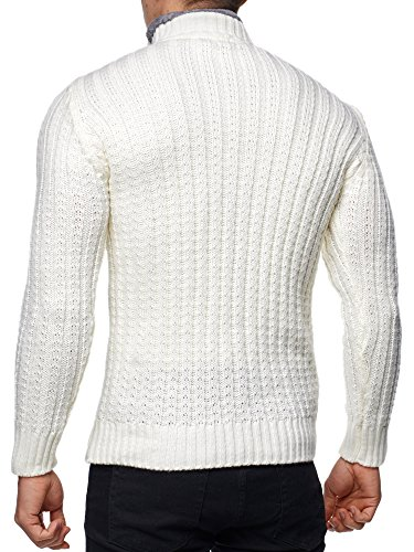 Pullover Herren Strickpullover Winter Strick Strickjacke Tazzio Longsleeve Clubwear Langarm Shirt Sweatshirt Hemd Pulli Kosmo Japan Style Fit Look Ecru