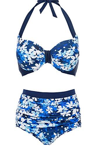 CharmLeaks Damen Bikini Set Vintage Blumen Print Hoch Geschnitten Bikini Gepolsterte Körbchen Mit Bügel Blau XXL (Panty Bikini Print)