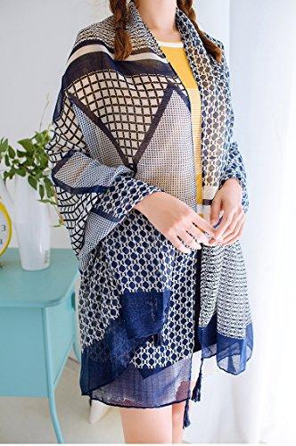 Europeo - estilo del otoño y del invierno de las mujeres 's geométrico retro Bufanda Chales Dual - Pañuelos de viajes Uso del viento nacional de protección solar