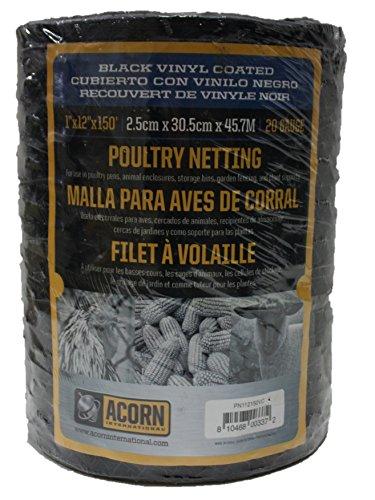 Acorn International pnvc112150Vinyl beschichtet Geflügelnetz, 2,5x 30,5cm X - Netting-bett Schwarz