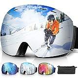 amzdeal Occhiali da Sci OTG, Maschera da Sci Snowboard Antivento Anti Fog Protezione 100% UV 400 per Uomo, Donna e Gioventù per a Snowboard, Motocross e Altri Sport Invernali (Argento)