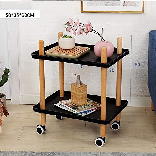 IVNGRI Sofa Beistelltisch mit Rädern, Tray End Table Wohnzimmer Schlafzimmer, 2-Tier-Nachttisch Dienstprogramm Rollwagen 2 Farben (Color : Black-1001, Size : Rectangular) 2-tier Tray Table