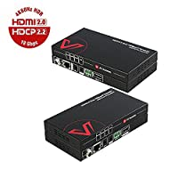True HDMI2.0 Extender (HDBaseT) Two-way POE, Uncompressed 4Kx2K@60Hz YUV444 over Single Cat5e/6a, HDR10+HDCP2.2+Bidirectional IR, RS232 Control,230ft 1080P,130ft 4K,Dolby Atmos & DTS:X??�Promotion Message: Buy One & FREE Get One HDMI 2.0 Cable???