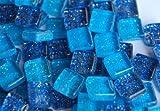100 Stück Glas Mosaiksteine mit Glitzer 1x1cm ca. 85g Blaumix