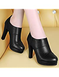 AJUNR-Zapatos De Mujer De Moda Negro 10Cm De Grosor Con Taiwán Impermeable Zapatos De Mujer High-Heeled Zapata Única La Nueva Cabeza Deep-Round Impermeable Grueso Con Taiwán Durante La Primavera Y El Otoño 35 Negro