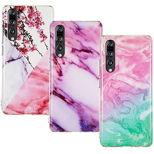 CLM-Tech Hülle 3X kompatibel mit Huawei P20 Pro, TPU Silikon-Hülle Case Schutzhülle Handyhülle 3er Set, Marmor pink lila türkis