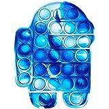 لعبة تفاعل حسي الفقاعات من ليموس بوب، أدوات فقاعات دفع، احتياجات خاصة للتوحد لتخفيف الإجهاد من السيليكون (لون أزرق مموه)