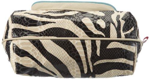 Poodlebags Funkyline - Exotic Remix - French Peanut - zebra petrol 3FL0313FRENZ, Damen Schultertaschen 25x19x12 cm (B x H x T) Mehrfarbig (zebra / petrol)