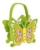 Idena 030040 Filztasche Schmetterlin Circa 18 cm, grün