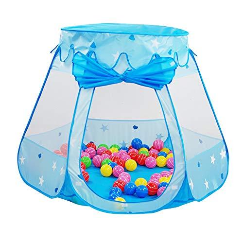 Laufgitter Laufstall Baby 6-Panel Princess Play House-Pool mit 100 Bällen, Home Baby Play Tent Playhouse, Indoor Mädchen Jungen Kleines Schlossspielzeug (Farbe : Blau)