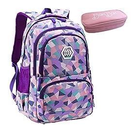 Bom-Bom-Rucksack-Schultasche-junge-Mdchen-Teen-Kinder-groe-Schule-Rucksack-violett