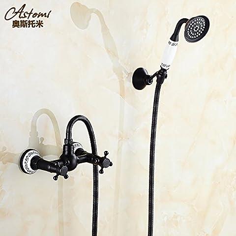 Qwer Wasserhahn Schwarz Antik Continental Cu alle Badewanne Armatur Mischbatterie Dusche Badezimmer Armatur Mischung aus warmen und kalten Wasser Ventil 3 Mischer für Bad