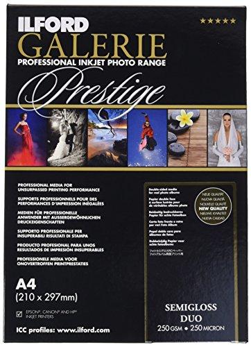ILFORD Galerie Prestige Semigloss Duo - Papel fotográfico doble cara, 250 g, 25 hojas, A4
