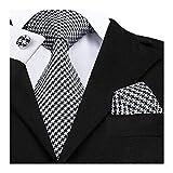 Best Home Fashion White Tie - FidgetGear Black Classic Mens Tie White Stripe Silk Review