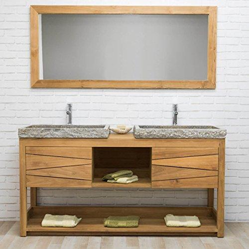 wanda collection Meuble sous Vasque en Teck Massif Cosy 160cm + 2 vasques Gris