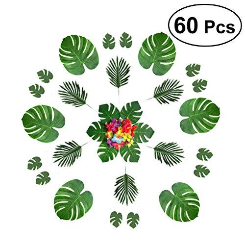BESTOYARD Palmblätter und Hibiskus-Blumen für Hawaiische Luau Party Supplies Dschungel Beach Party Dekorationen 60PCS