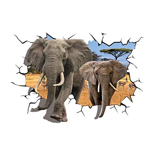 Ruiting Pegatinas de Pared Elefante 3D,Tatuajes de Pared Etiqueta de la Pared creativo Decorativas para Dormitorio Habitación de los niños de papel de pared desmontable