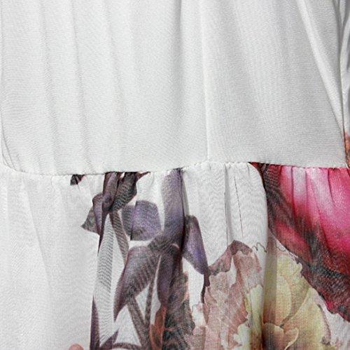 Longra Robe manches longues florales féminines Blanc