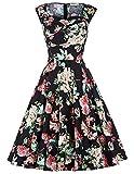 Elegant vintage retro 50s blumenmuster knielang partykleid ballkleid für damen SBP105-1