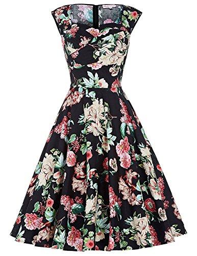 50er jahre kleid rockabilly kleid audrey hepburn kleid retro sommerkleid knielang XL BP105-1