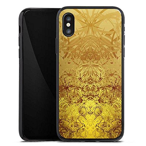 Apple iPhone X Silikon Hülle Case Schutzhülle Gold Muster Struktur Silikon Case schwarz