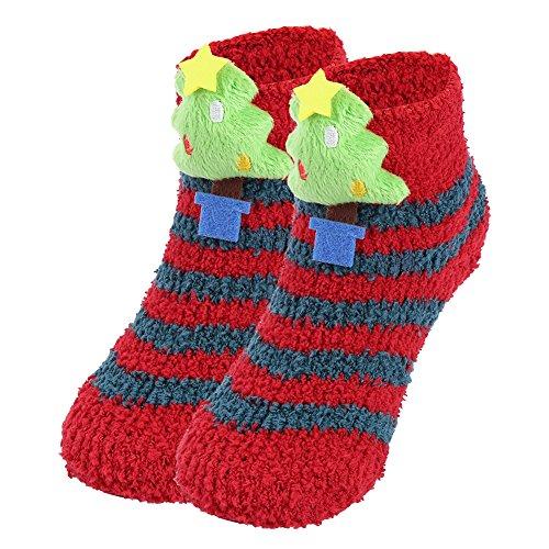 Vbiger Kleinkind Jungen & Mädchen Weihnachten Socken Winter Socken Rutschfeste Boden Socken,im Alter von 0-3 (Streifen-thermische Jungen)