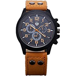 Watch,Fortan Vintage Classic Mens Waterproof Date Leather Strap Sport Quartz Army Watch