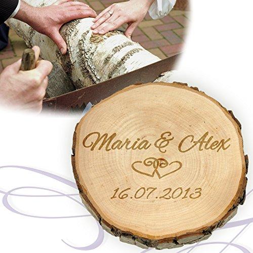 Baumscheibe mit Gravur zur Hochzeit - Personalisiert mit Namen und Datum - Motiv Herzen - Türschild, Wandschild, Dekoration als Geschenk-Idee - Hochzeitsgeschenk, Liebesgeschenk