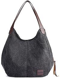 Gindoly Damen Canvas Handtasche Klein Vintage Shopper Schultertasche Henkeltasche Hobo Tasche Beuteltasche