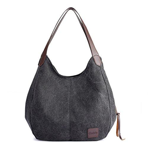 Gindoly Damen Canvas Handtasche Klein Vintage Shopper Schultertasche Henkeltasche Hobo Tasche Beuteltasche (Schwarz)