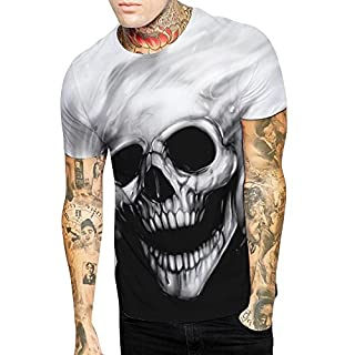 Floral Skull Print T-Shirt PRINCER Mens Funny Personality Tees, Summer Short Sleeve Slim Fit Shirts Causal Fashion Blouse Vest Top Pullover Plus Size S-4XL