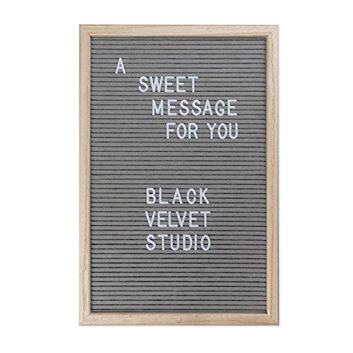 Black Velvet Studio Tablero LetrasWordMaderayFieltro,ColorNaturalyGris.145Letras45x30x2,5cm
