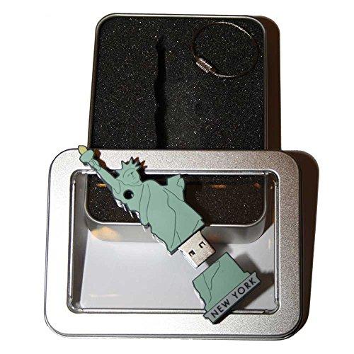 Preisvergleich Produktbild Souvenir New York | Geschenkidee: USB-Stick mit Schlüsselanhänger in Form State of Liberty (Freiheitsstatue) für Frauen u. Männer | inklusive Fotogalerie von New Yorker Sehenswürdigkeiten | Memory Stick 8 GB | CultourStix