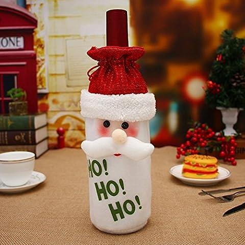 Bouchon de bouteille de vin rouge de Noël Décoration de vin Bouchon de bouteille de vin, sac de bonhomme de neige et du père noël Bouchon de bouteille de vin Bouchon de bouteille de vin Décoration de Noël (Père Noël)