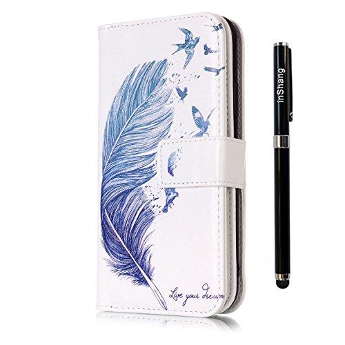 inShang Custodia per iPhone X 5.8 inch con design integrato Portafoglio, iPhoneX 5.8inch case cover con funzione di supporto. + inShang Logo pennino di alta classe Blue feathers
