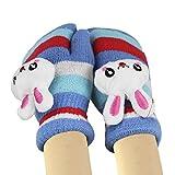 Doppelte warme Handschuhe Kinder Mädchen Fäustlinge mit einer Schnur Plüsch Warm Winterhandschuhe Strickhandschuhe mit süßem Muster