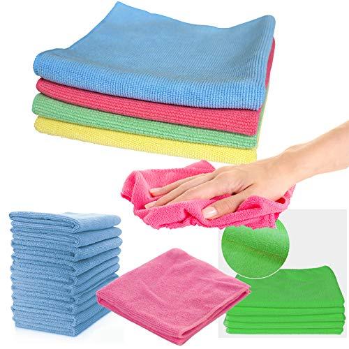Panni in microfibra confezione da 10 pezzi asciugamano multicolore per la pulizia di casa, cucina e auto lavaggio e lucidatura 40 x 40 cm