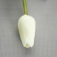 Aubess Real Touch - Mini tulipanes artificiales de poliuretano para decoración de casa, jardín, boda blanco blanco