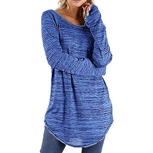 GreatestPAK Damen Frauen Pullover Plus Size Bluse Einfarbig Tops RounLong Sleeve Shirt